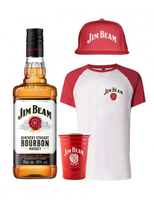 Jim Beam Bourbon, T-Shirt, Hat and Metal Cup Bundle