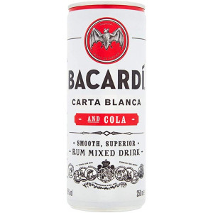Bacardi Carta Blanca and Cola Cans 12 x 250ml